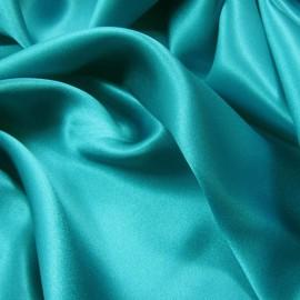 Tissu Satin de Soie uni Bleu turquoise x10cm