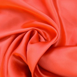 Tissu Satin de Soie uni Corail x10cm