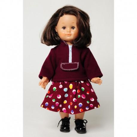 Sweat-shirt et jupe pour fillette et poupée