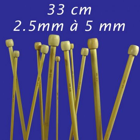 Aiguilles à tricoter Bambou 33cm - 2,5mm à 5mm