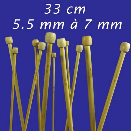 Aiguilles à tricoter Bambou 33cm - 5mm à 7mm