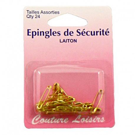 Epingles de sécurité laiton assorties (x24)