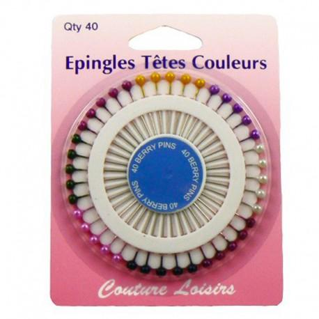 Epingles têtes perles (x40) 38mm x 0,62mm
