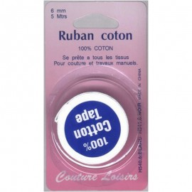 Ruban de coton blanc 6mm long 5m