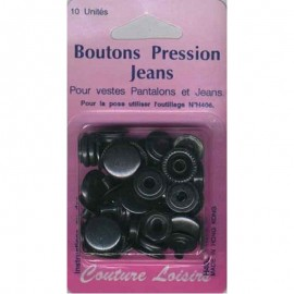 Boutons pression 15mm Jean's Noirs (x10)