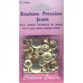 Boutons pression 15mm Jean's Laiton (x10)