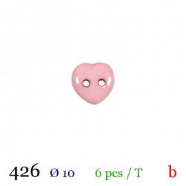 Tube 6 boutons cœur rose Ø 10mm