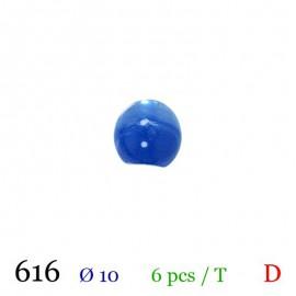 Tube 6 boutons boule bleu Ø 10mm