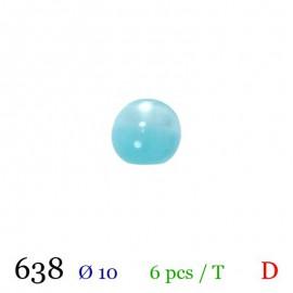 Tube 6 boutons boule bleu ciel Ø 10mm