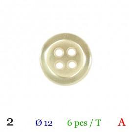 Tube 6 boutons écru Ø 12mm