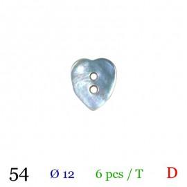 Tube 6 boutons cœur gris nacré Ø 12mm