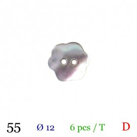 Tube 6 boutons fleur gris nacré Ø 12mm