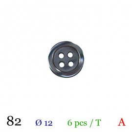 Tube 6 boutons noir Ø 12mm
