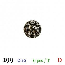 Tube 6 boutons métal noir et doré Ø 12mm
