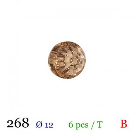 Tube 6 boutons façon strass marron Ø 12mm