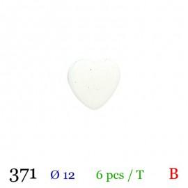 Tube 6 boutons cœur blanc Ø 12mm