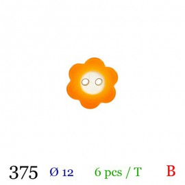 Tube 6 boutons fleur orange Ø 12mm