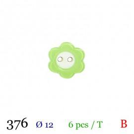Tube 6 boutons fleur vert Ø 12mm