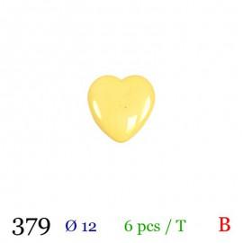 Tube 6 boutons cœur jaune Ø 12mm