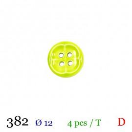 Tube 4 boutons vert anis Ø 12mm