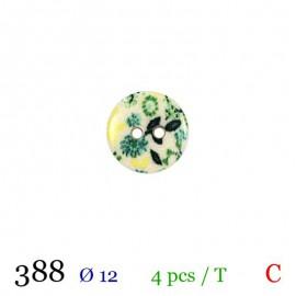 Tube 4 boutons fleurs vertes Ø 12mm