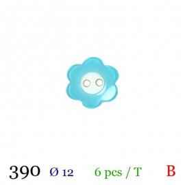 Tube 6 boutons fleur bleu Ø 12mm
