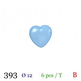Tube 6 boutons cœur bleu Ø 12mm