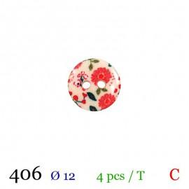 Tube 4 boutons fleurs rouge Ø 12mm