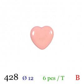 Tube 6 boutons cœur rose Ø 12mm