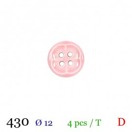 Tube 4 boutons rose pâle Ø 12mm
