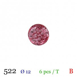 Tube 6 boutons façon strass rose Ø 12mm