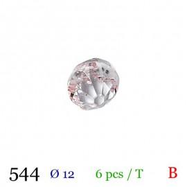 Tube 6 boutons façon strass rose pâle Ø 12mm