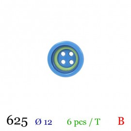 Tube 6 boutons bleu et vert Ø 12mm