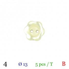 Tube 5 boutons fleur écru Ø 13mm