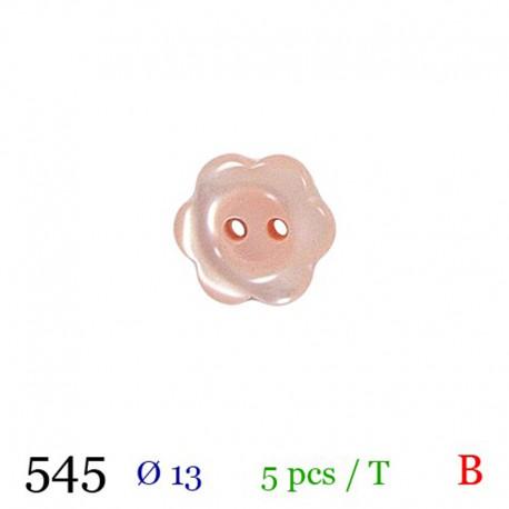 Tube 5 boutons fleur rose Ø 13mm