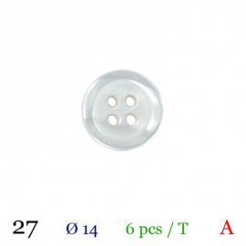 Tube 6 boutons blanc Ø 14mm