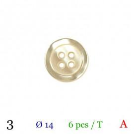 Tube 6 boutons écru Ø 14mm