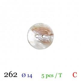 Tube 5 boutons blanc nacré Ø 14mm