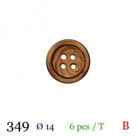 Tube 6 boutons bois foncé Ø 14mm