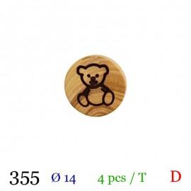 Tube 4 boutons bois nounours Ø 14mm
