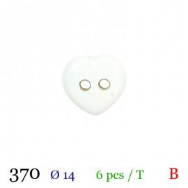 Tube 6 boutons coeur blanc Ø 14mm