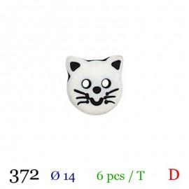 Tube 6 boutons chat blanc Ø 14mm