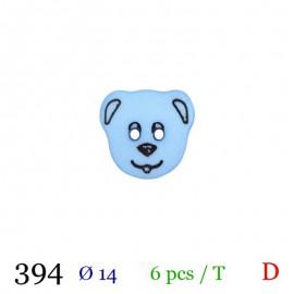 Tube 6 boutons chien bleu Ø 14mm