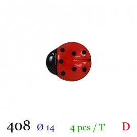 Tube 4 boutons coccinelle Ø 14mm