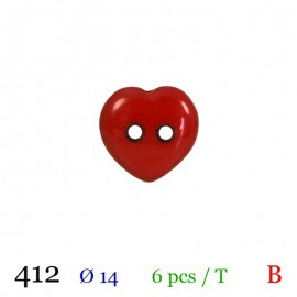 Tube 6 boutons coeur rouge Ø 14mm