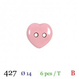 Tube 6 boutons coeur rose Ø 14mm