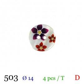 Tube 4 boutons fleurs rouges Ø 14mm