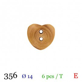 Tube 6 boutons coeur bois Ø 14mm