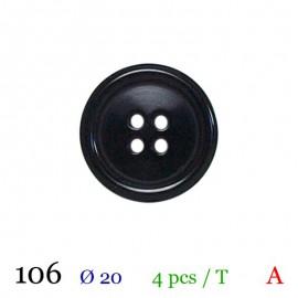 Tube 4 boutons noir Ø 20mm