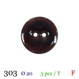 Tube 3 boutons marron foncé Ø 20mm